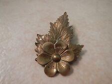 Vintage Stamped Brass Leaf Flower Pin Brooch C Clasp