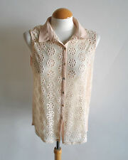 Ladies ZARA Nude Blush Floral Crochet Cut Out Daisy Collared Shirt Blouse Size M
