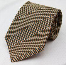 Paul Stuart x Charles Hill Blue Red Gold Chevron Weave Silk Tie England 57x3.75