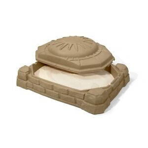 New Rectangular Sandbox Step2 Naturally Playful 4' With Cover Sandstone Beige