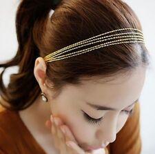 Fashion Charm Headband Hair Jewelry Golden Multi-layer Metal Chain Hair Party BB