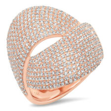 Diamond Wide Cocktail Bypass Right Hand Ring 1.28Ct 14K Rose Gold Pave Set Round