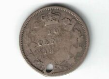 CANADA 1858 TEN CENTS DIME QUEEN VICTORIA STERLING SILVER COIN CANADIAN HOLED