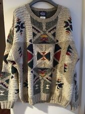 Woolrich Men's Sweater Large Size Warm Aztec Pattern Relaxed Fit