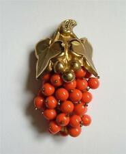 Vintage Faux Coral Glass Bead Cluster Grapes Dress Clip Brooch Pin Pendant Gold