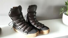 H&M LEATHER LIMITED EDITION BOOTS NEW BROWN WINTER HIKING  eu38 uk5 us7.5 warm