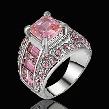Size 7 Women's Pink Sapphire Big Stone Sunflower Ring white Platinum Plated