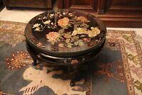 Table basse circulaire à décor laqué avec vitre Extrême-Orient Chine