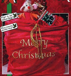 """Morris Costumes Velvet Santa Bag Sack Gold Letters Shoulder Strap 30"""" x 36"""" Red"""