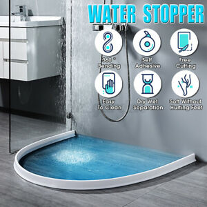 Silicone Shower Barrier Water Stopper Bathroom Waterproof Water Retaining Strip