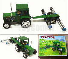 Farm Tractor with Plow MS470 Pull Back Friction Vehicle Retro Tin Toy w/Box