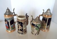 Vintage German Beer Stein Collection Ceramic Lidded Hahnentor 4 Piece Lot Q
