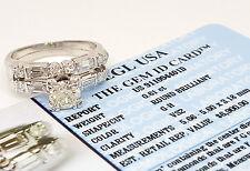 1.11 ct Vintage Platinum Diamond Engagement Ring Set EGL G-H/VS2 Rtl $6,900