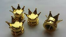Gold Crown Car Bike Motorcycle Wheel Tyre Tire Valves Dust Caps. Set of 4