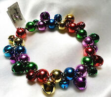Christmas Jingle Bell Bracelet Holiday Jewel Tones Stretchy Makes Jingley Sound