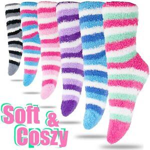 6 Pairs Women Plain Super Soft Cozy Fuzzy Socks Warm Slipper Knee High Size 9-11