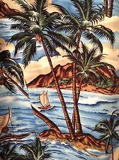 Ky's Hawaiian Shirt Blue Surf Island Volcano Outrigger Canoe Catamaran Palms MED