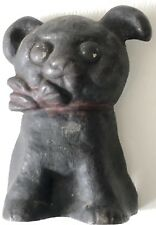Vintage Cast-Iron Puppy Dog Red Collar Miniature Small Tiny Figure Doorstop