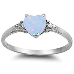 White Opal Heart & Cz .925 Sterling Silver Ring