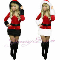 Santa Fancy Dress Costume Womens Christmas Xmas Claus Plus Size 6-22 Outfit Sexy
