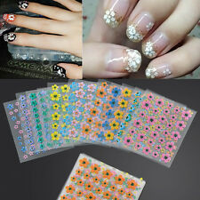 50 Sheets Bautiful Flower Nail Art Sticker Decal Water Transfer Manicure 3D Tips