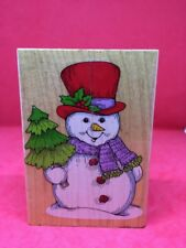 Hero Arts H861 Jumbo Snowman Wood Mounted Rubber Stamp 1994