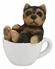 "Ebros Realistic Mini Yorkie Teacup Statue 3"" Tall Pet Pal Yorkshire Terrier Dog"