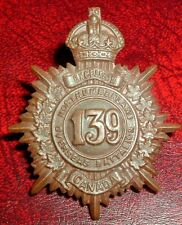 CAP BADGES-WW1 CANADIAN CEF 139th NORTHUMBERLAND REF 139-2
