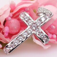Certified 1.80 Ct Diamond Cross Pendant 14k White Gold Solid Excellent Round Cut