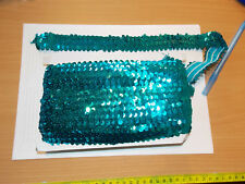1 m Turquoise Sequin Stretch Elasticated 3 cm Trim Sewing Craft Costume Christmas