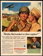 1943 Studebaker - John H. Williams - Wwii Flying Fortress & Soldiers Vintage Ad