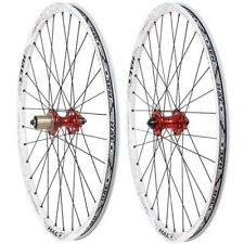 "HALO Vapour XC Trail Wheelset 26"" MTB Bike Rr QR / Ft 15mm / QR White / Red Hubs"