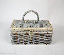 Vintage Wicker Sewing Box Made exclusively for SINGER Blue Satin Interior