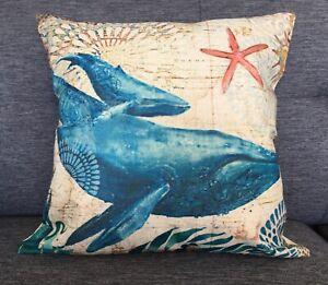 Blue Whale With Calf Linen Cushion Cover 45 x 45 Home Decor Pillow Case