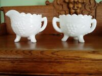 Imperial Milk Glass Creamer & Sugar Bowl, 3 footed, Grape Leaf Pattern EXCELLENT