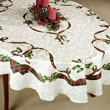 "LENOX Holiday Nouveau 70"" Round TABLECLOTH Christmas Red Green Gold Cream Holly"