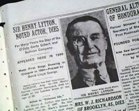 HENRY LYTTON English Actor & Singer Gilbert and Sullivan DEATH 1936 Newspaper
