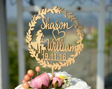 Personalized Wedding Cake Topper Made of Wood and Painted in Metallic Gold #131