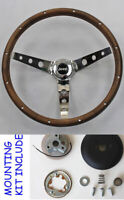 """1976-1995 Jeep CJ5 CJ7 YJ Classic Wood Steering Wheel 13 1/2"""" Horn Kit Grant"""