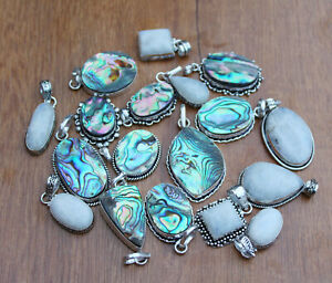 Moonstone & Abalone shell Gemstone Pendant Silver Overlay Pendants TP- 3
