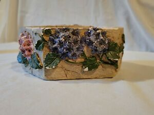Decorative Candle Stone Look With Flowers Double Wick Vintage