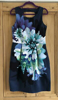 Ladies Oasis Blue Floral Sleeveless Pencil Dress Wedding Party UK Size 12