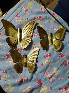 Vintage Copper Butterflies Wall Art - set of 3