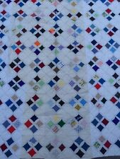 "Vintage CATHEDRAL WINDOW QUILT Patchwork 72"" X 86"""