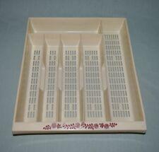 Vintage Hard Plastic Silverware Tray Drawer Organizer 6 Slots Almond w Burgundy