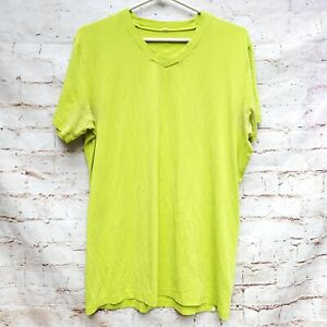 Lululemon Lime Green/Yellow T Shirt V Neck Men's Size Large HOLE IN HEM