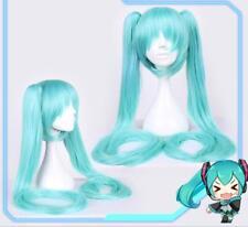 Vocaloid Hatsune Miku Blau Cosplay Perücke wig Long Lang Zopf Kimono Maid 120cm