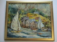 VINTAGE  AMERICAN  PAINTING  COASTAL IMPRESSIONISM BOATS BEACH CITY RAKESTRAW