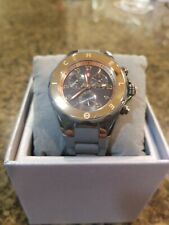 Michele Sport Tahitian Jelly Bean Rubber/Silicone Watch Gold and Gray *$498 MSRP