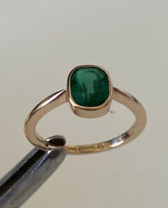 Rare Antique Victorian Paste Emerald & 9ct Rose Gold Stacking Solitaire Ring